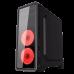 GABINETE GAMER GAMEMAX G561-F RED(3 FAN INCLUIDOS VENTANA COMPLETA ACRÍLICO)